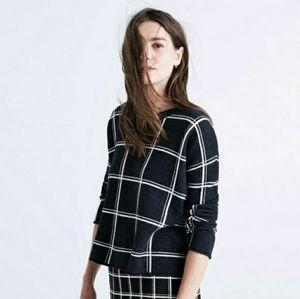 Madewell Windowpane Grid Sweater XS